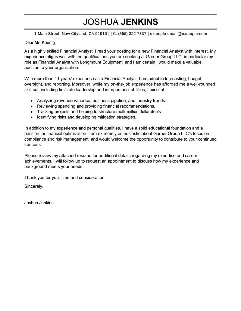Financial Analyst Cover Letter Best Analyst Cover Letter Examples
