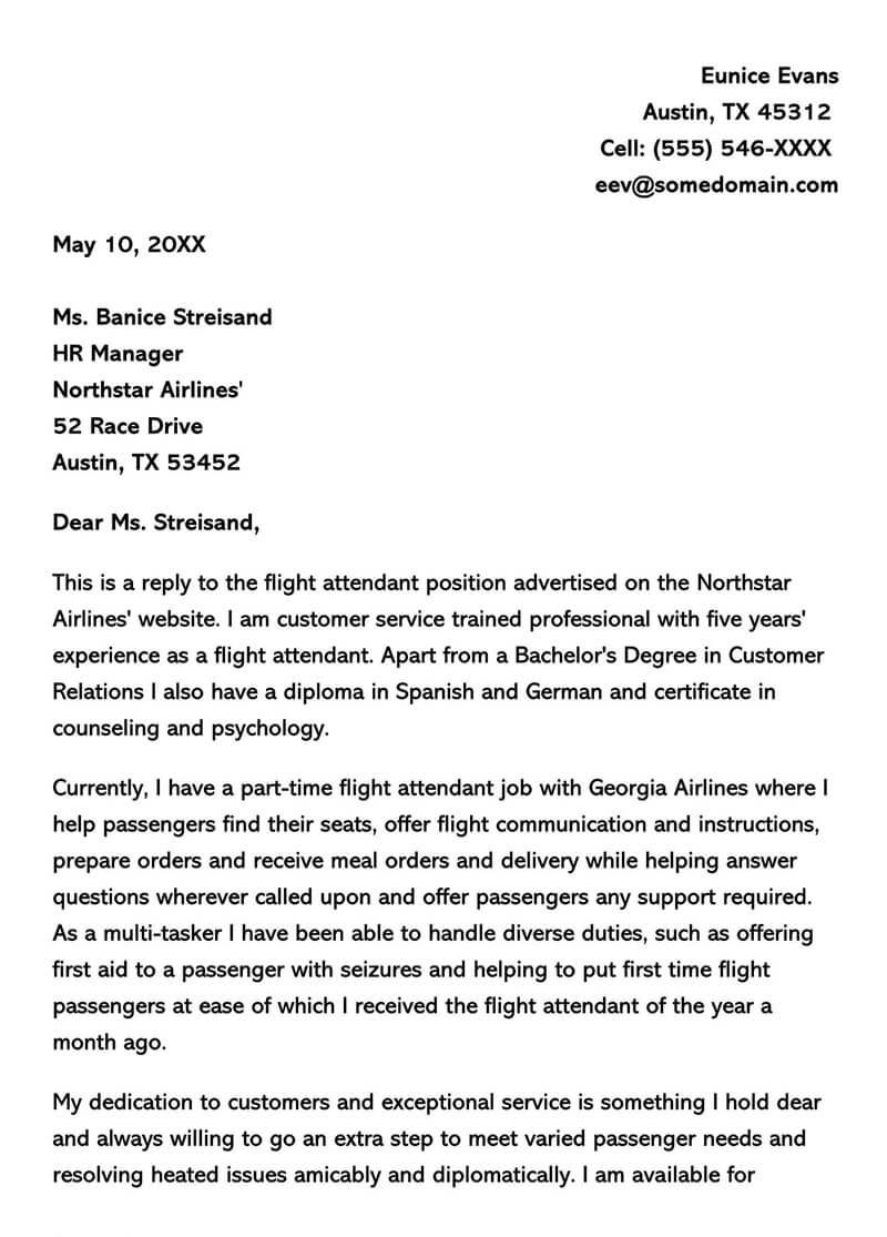 Flight attendant Cover Letter Flight attendant Cover Letter Sample Letters & Email Examples