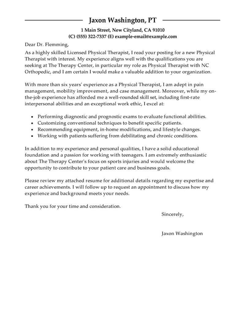 Best Physical Therapist Cover Letter Examples