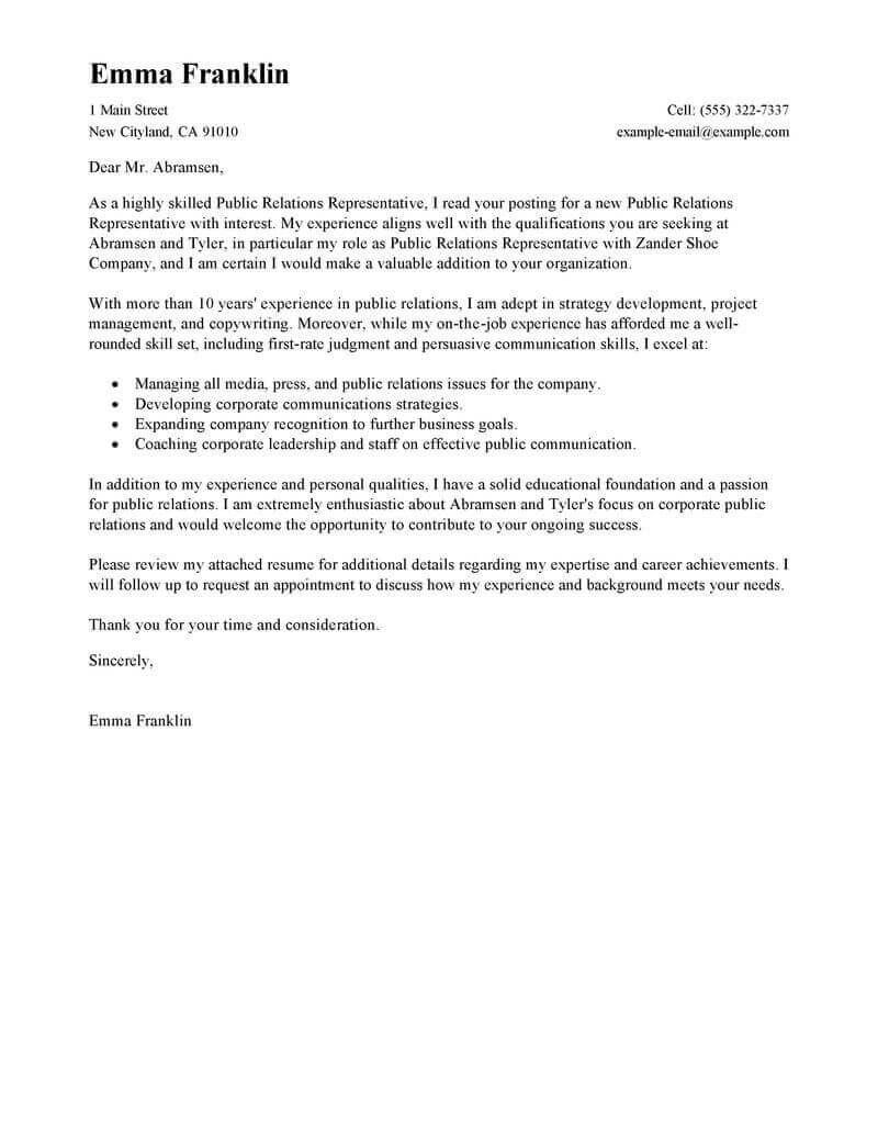 Best Public Relations Cover Letter Examples