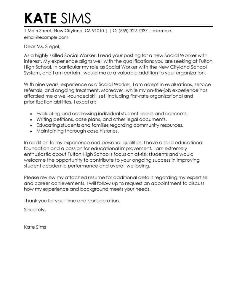 Social Worker Cover Letter Best social Worker Cover Letter Examples