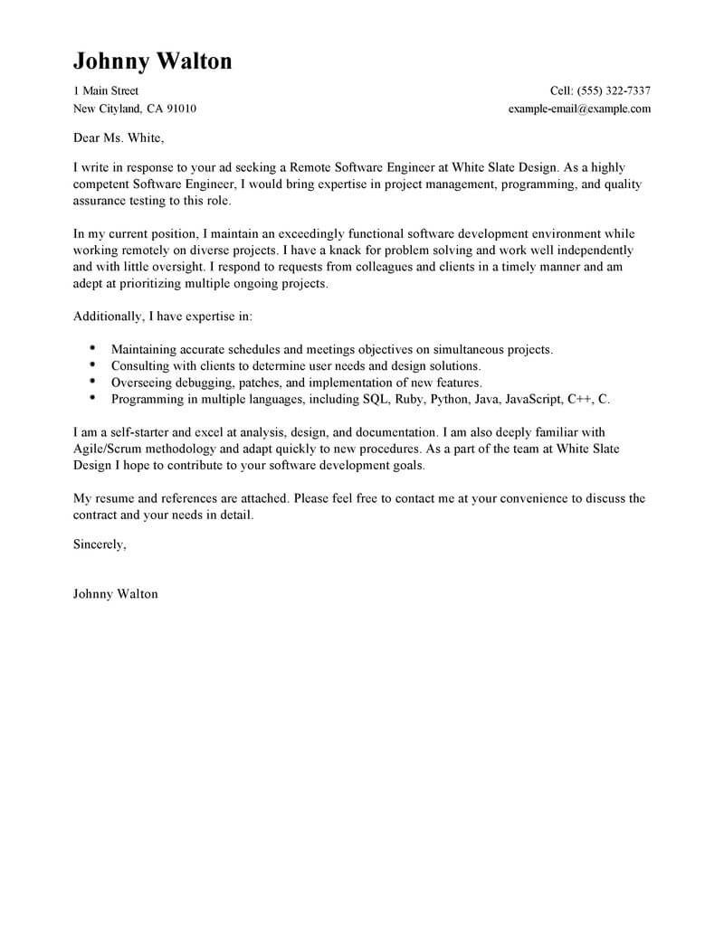 Best Remote Software Engineer Cover Letter Examples