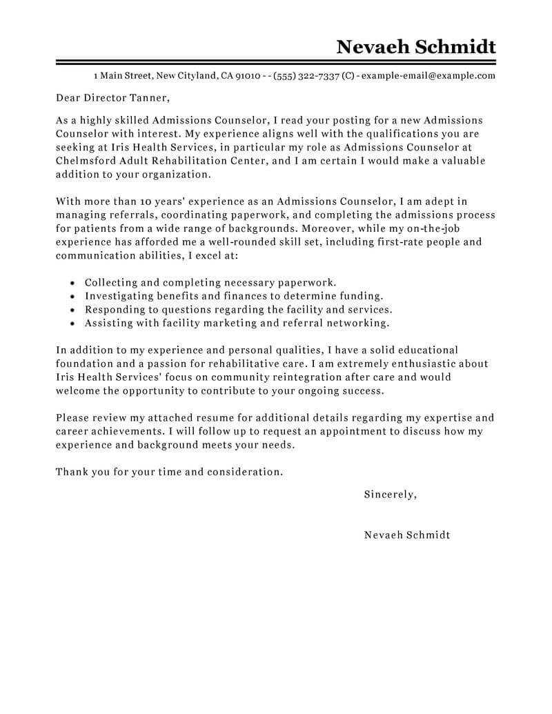 Academic Advisor Cover Letter Leading Professional Admissions Counselor Cover Letter