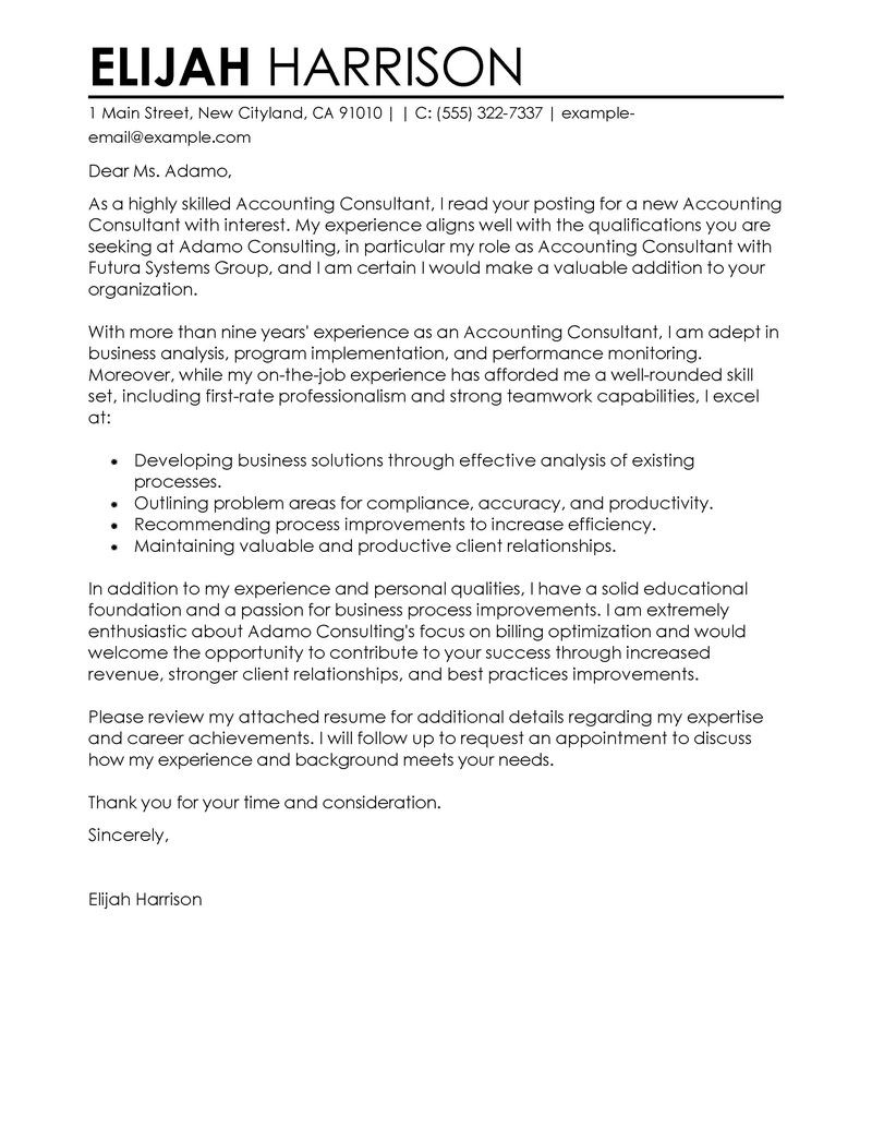 Consulting Cover Letter Sample Professional Financial Consultant Cover Letter Examples