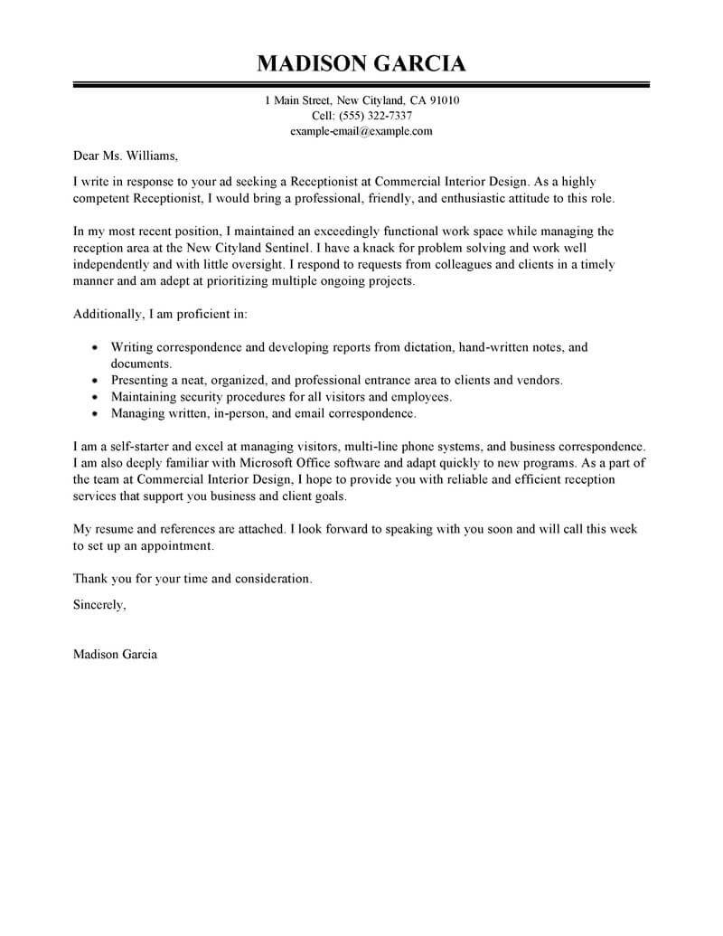 Cover Letter for Receptionist Best Receptionist Cover Letter Examples