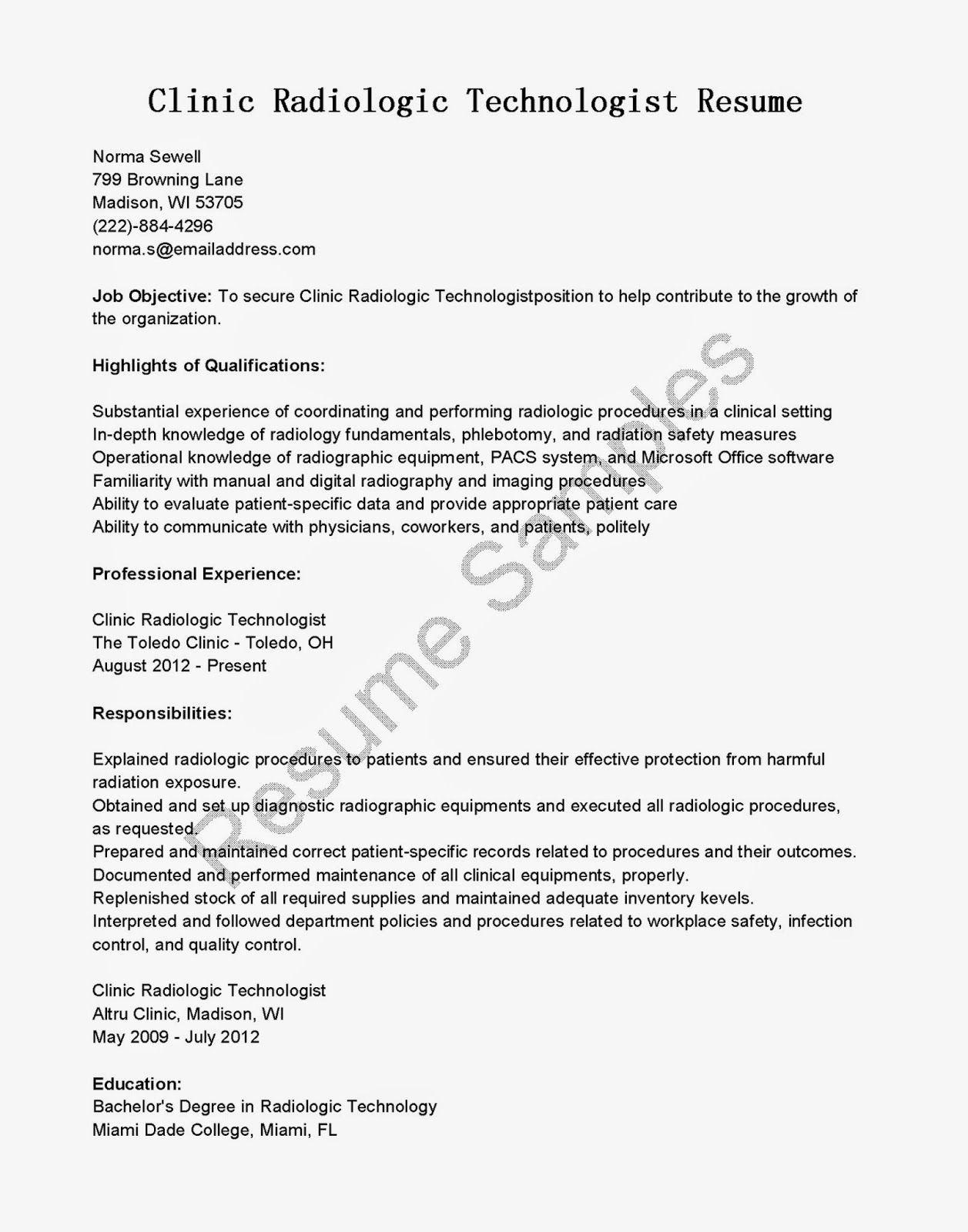 Use this FREE Sample Clinic Radiologic Technologist Resume