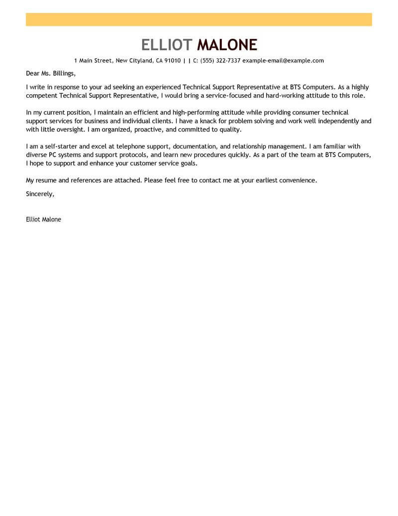 Best Technical Support Cover Letter Examples