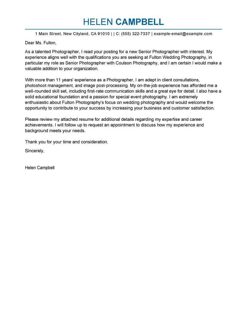 Best Senior grapher Cover Letter Examples