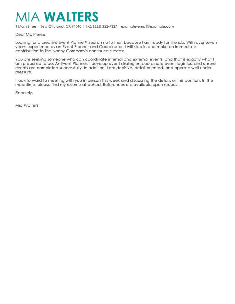 Leading Professional Event Planner Cover Letter Examples
