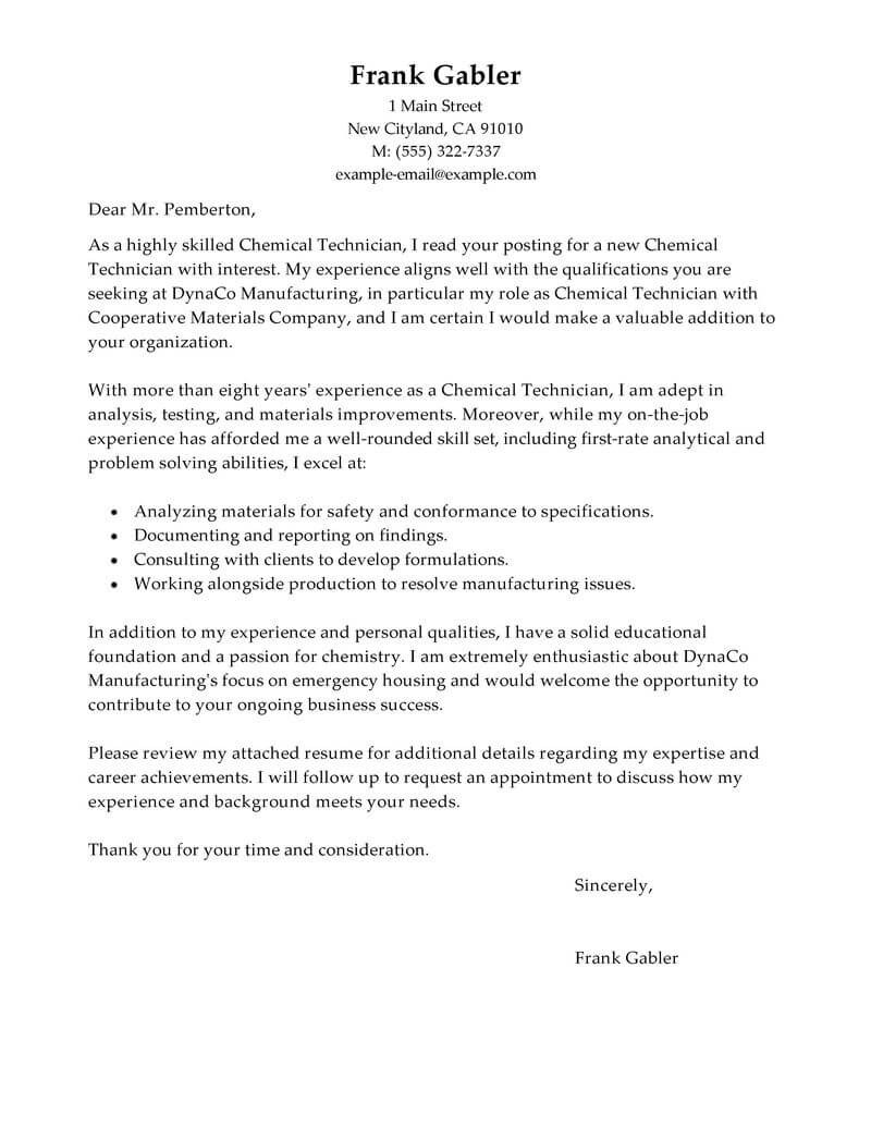 Best Chemical Technicians Cover Letter Examples