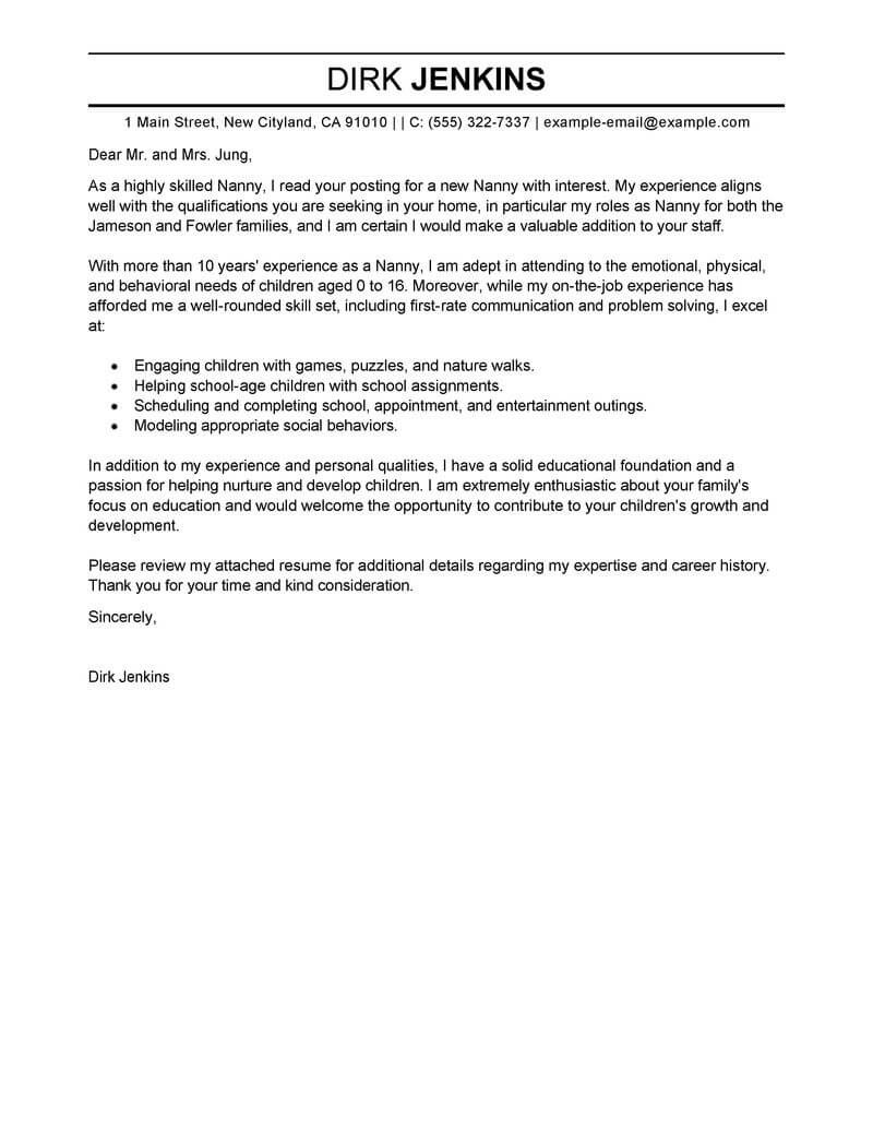 Best Nanny Cover Letter Examples