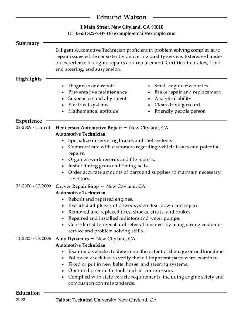 Best Automotive Technician Resume Example
