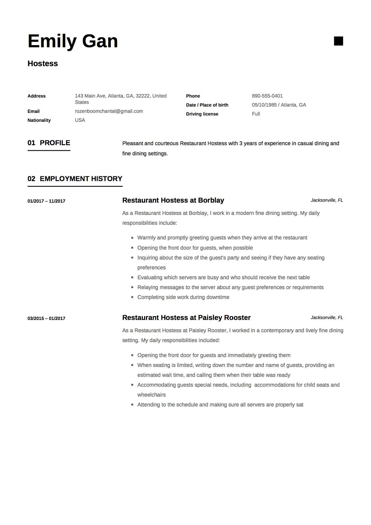 Restaurant Host Job Description Resume Hostess Resume & Guide