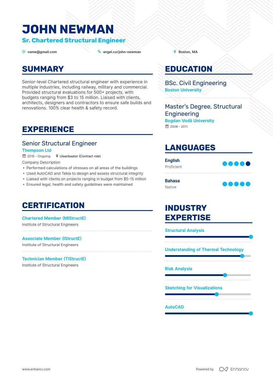 Structural Engineer Resume Example Structural Engineer Resume Examples Do's and Don'ts for 2020