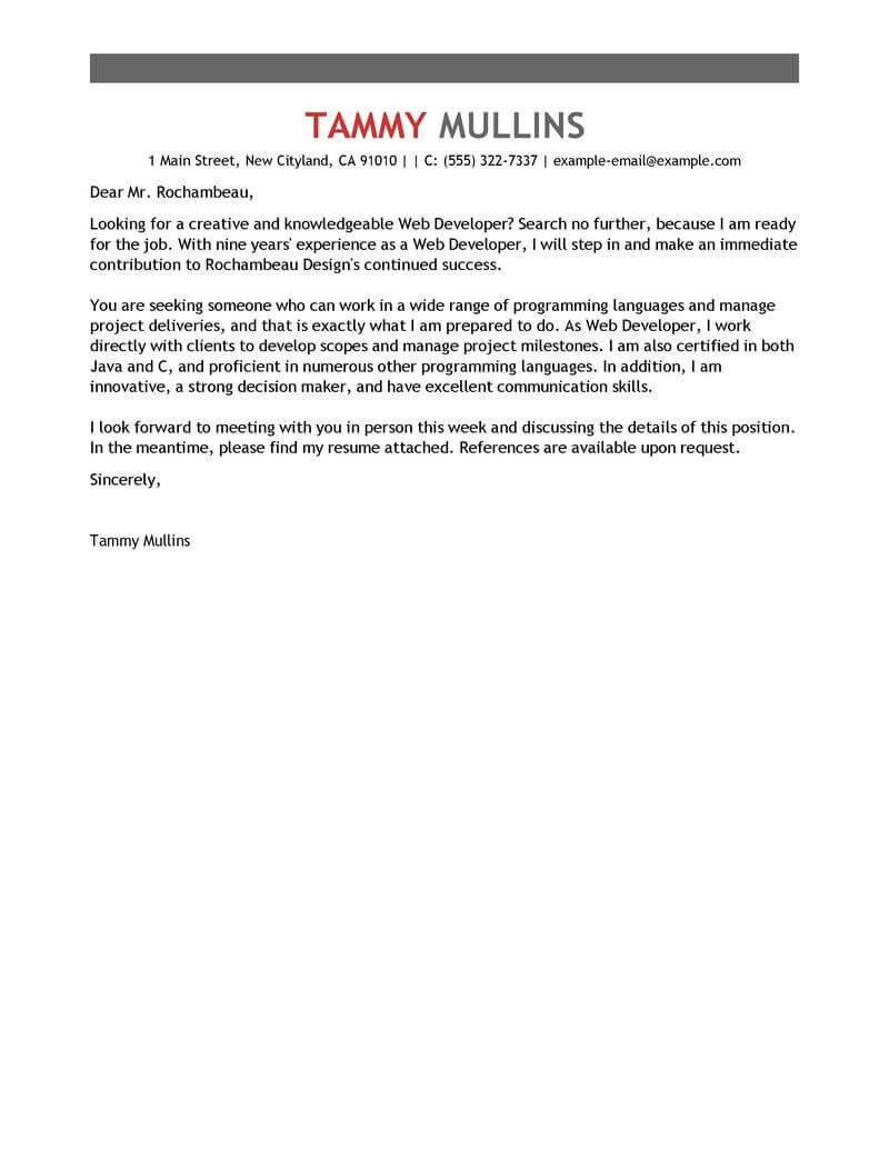 Best Web Developer Cover Letter Examples for the IT Industry