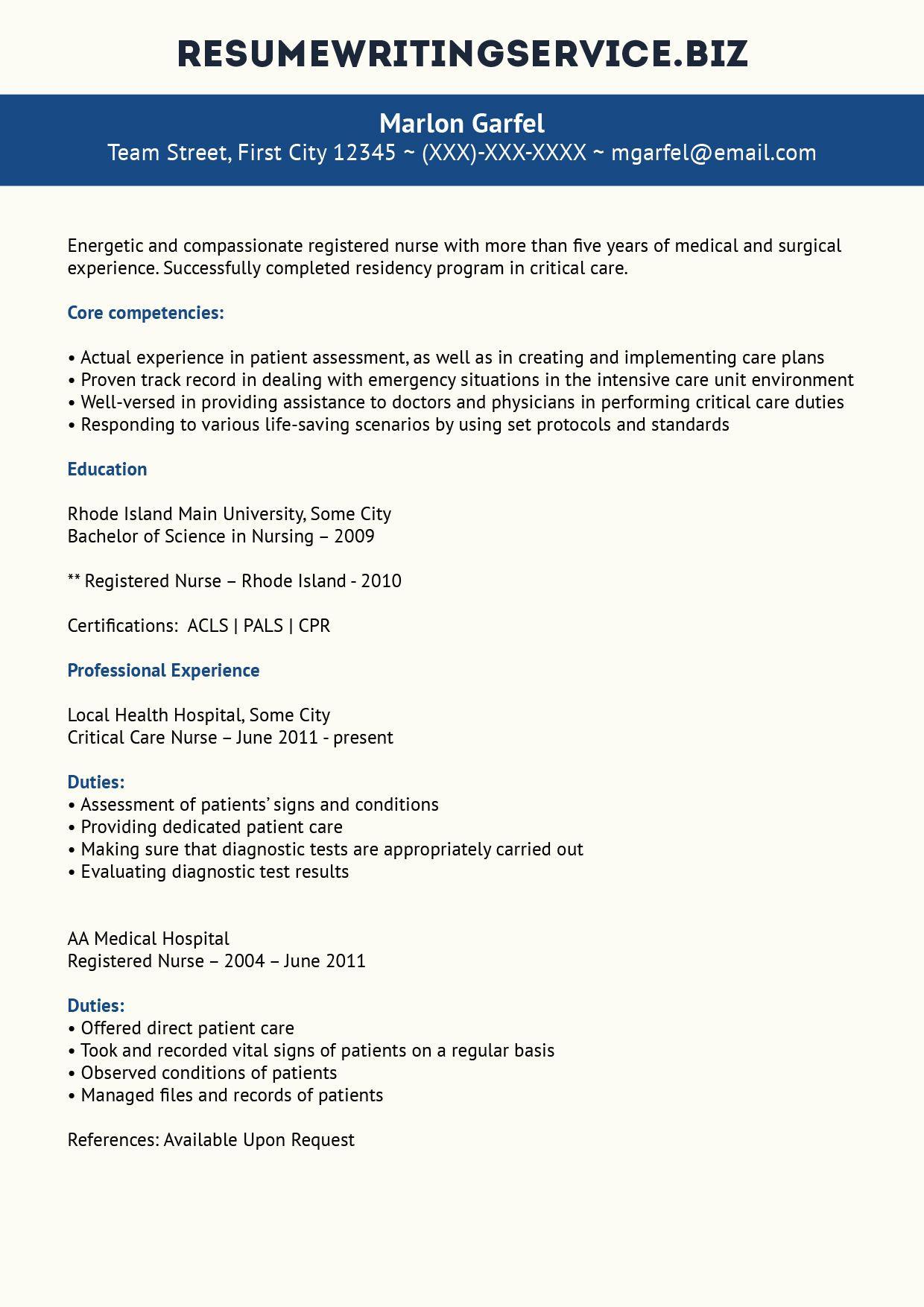 Critical Care Nurse Resume