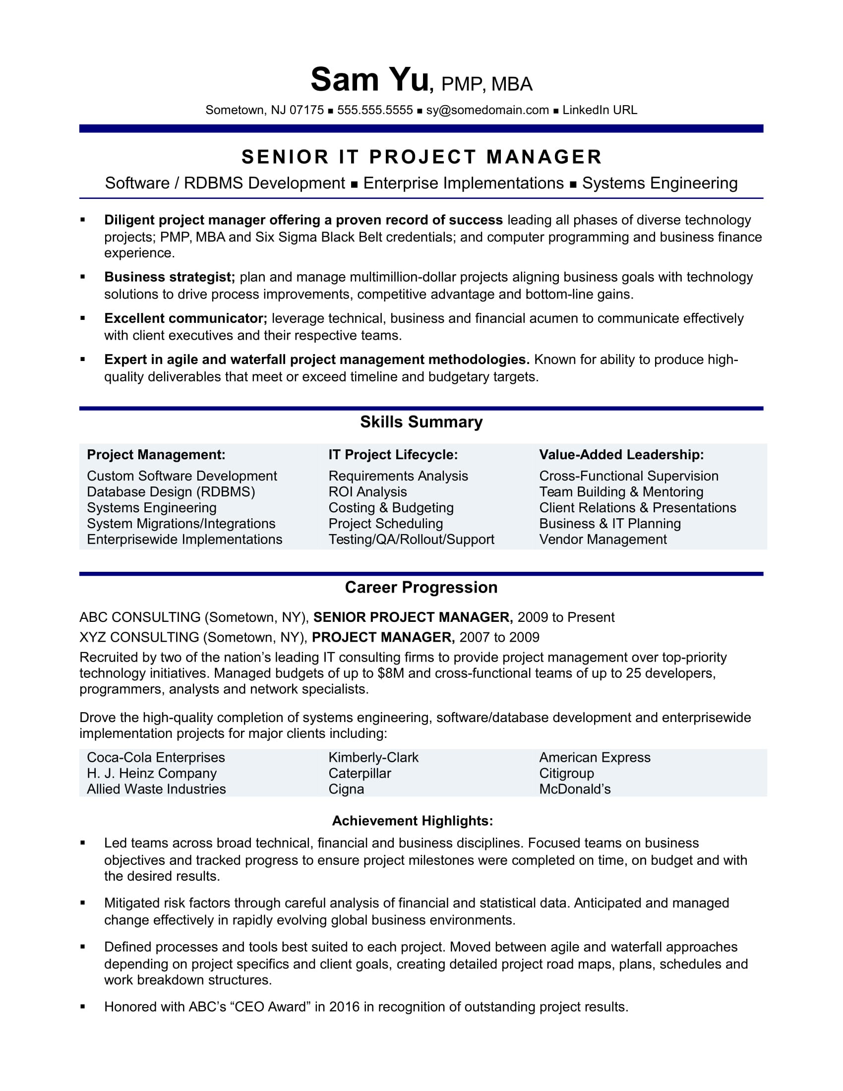 Project Management Skills Resume Experienced It Project Manager Resume Sample