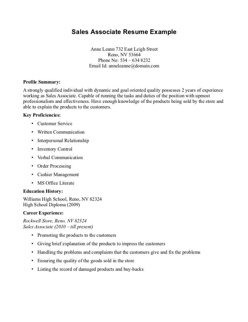 Sales associate Resume No Experience Sales associate Resume Resume Template format