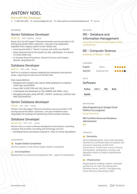database developer resume sample  evie barlow