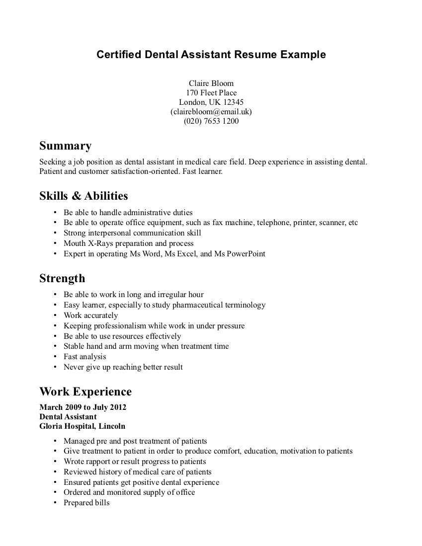 Sample Resume for Dental Assistant Student Loan Tipss und