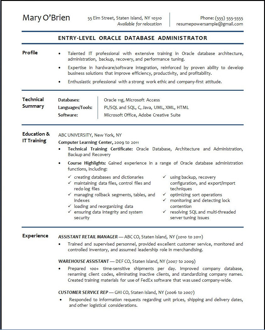 Entry Level Dba Resume oracle Database Administrator Sample Resume