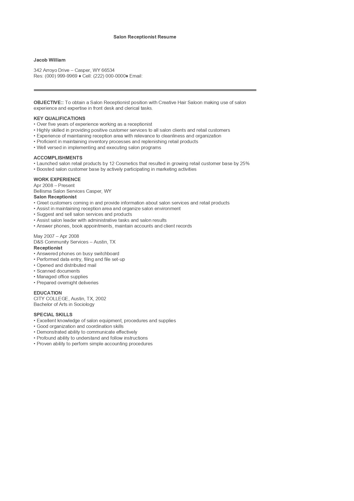 Hair Salon Receptionist Resume Salon Receptionist Resume