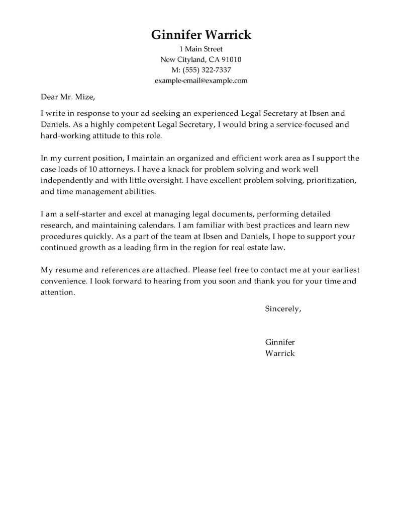 Legal Secretary Cover Letter Samples Best Legal Secretary Cover Letter Examples