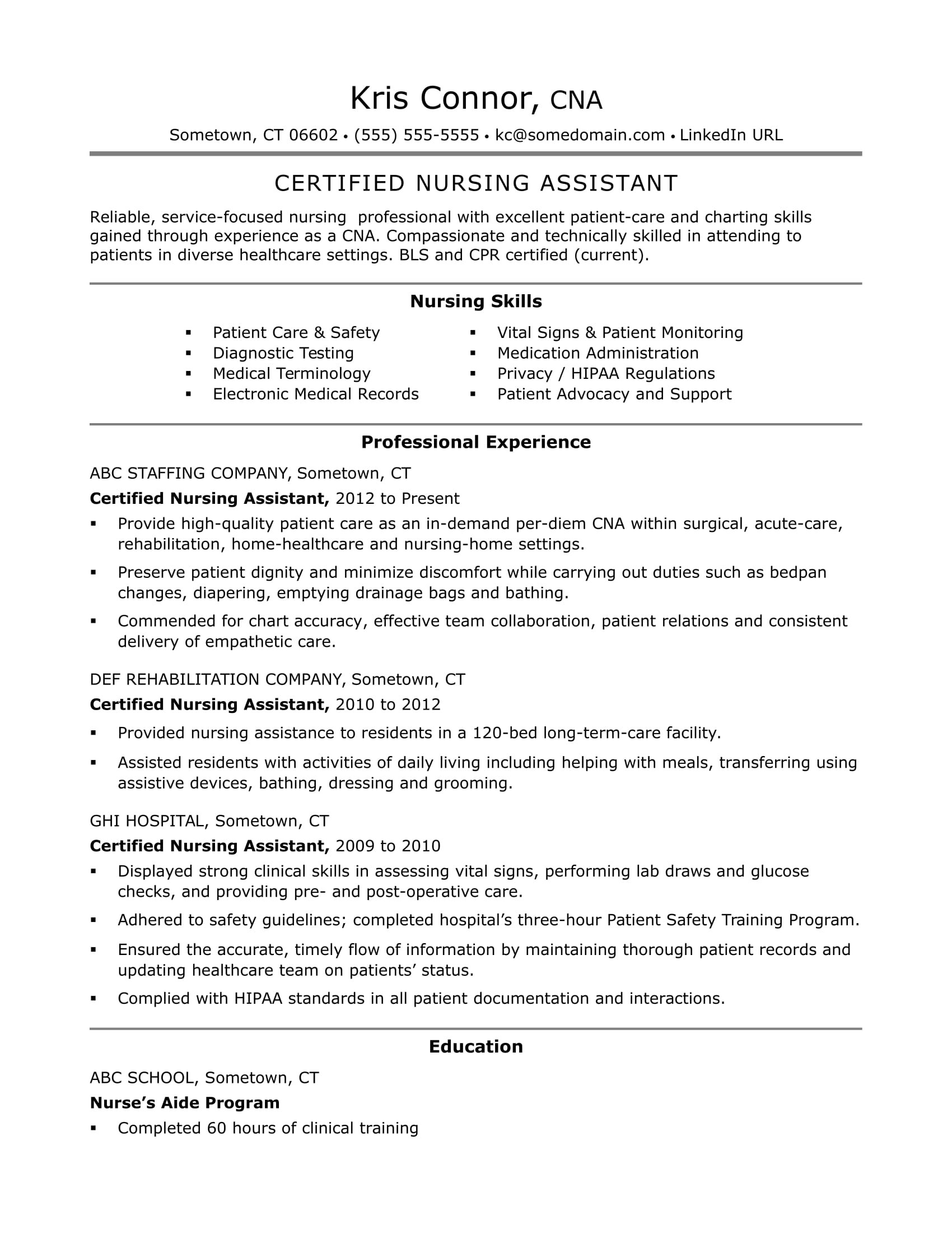 Nurse Aide Resume Samples Cna Resume Examples Skills for Cnas
