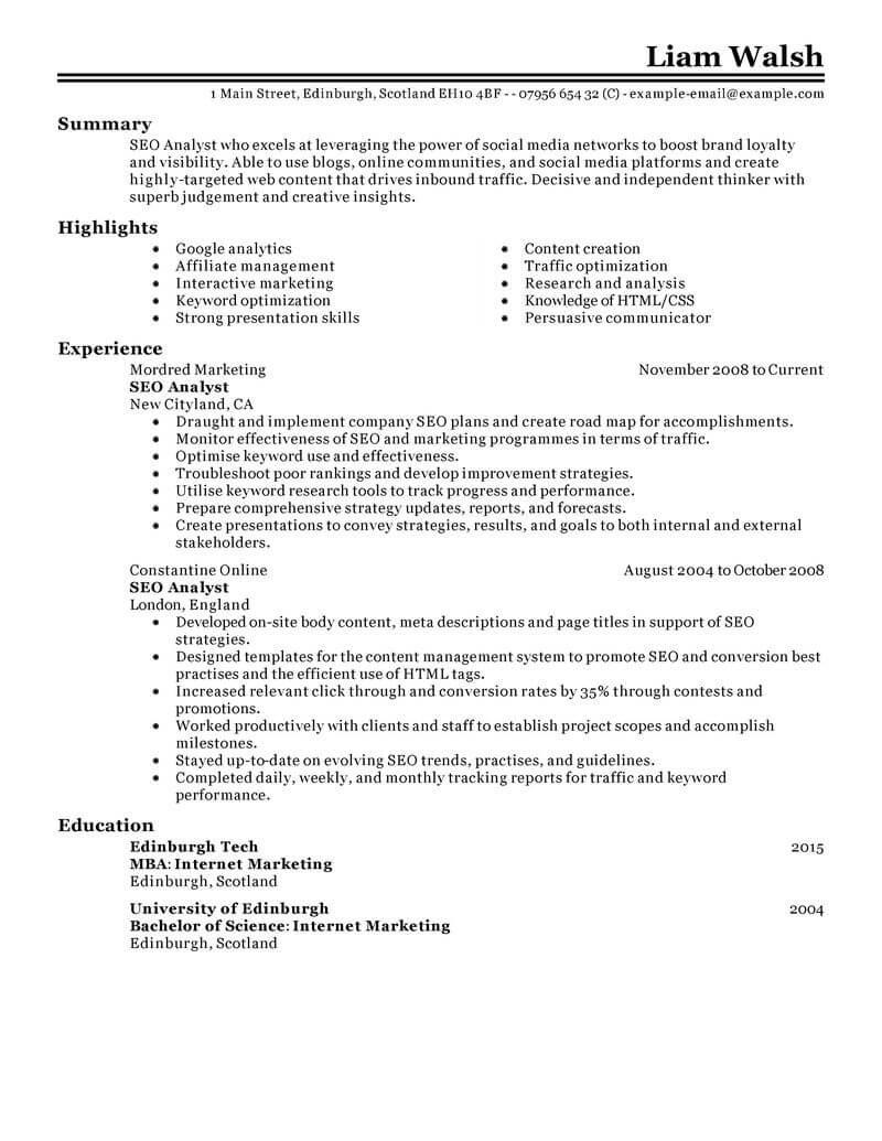 Best SEO Resume Example