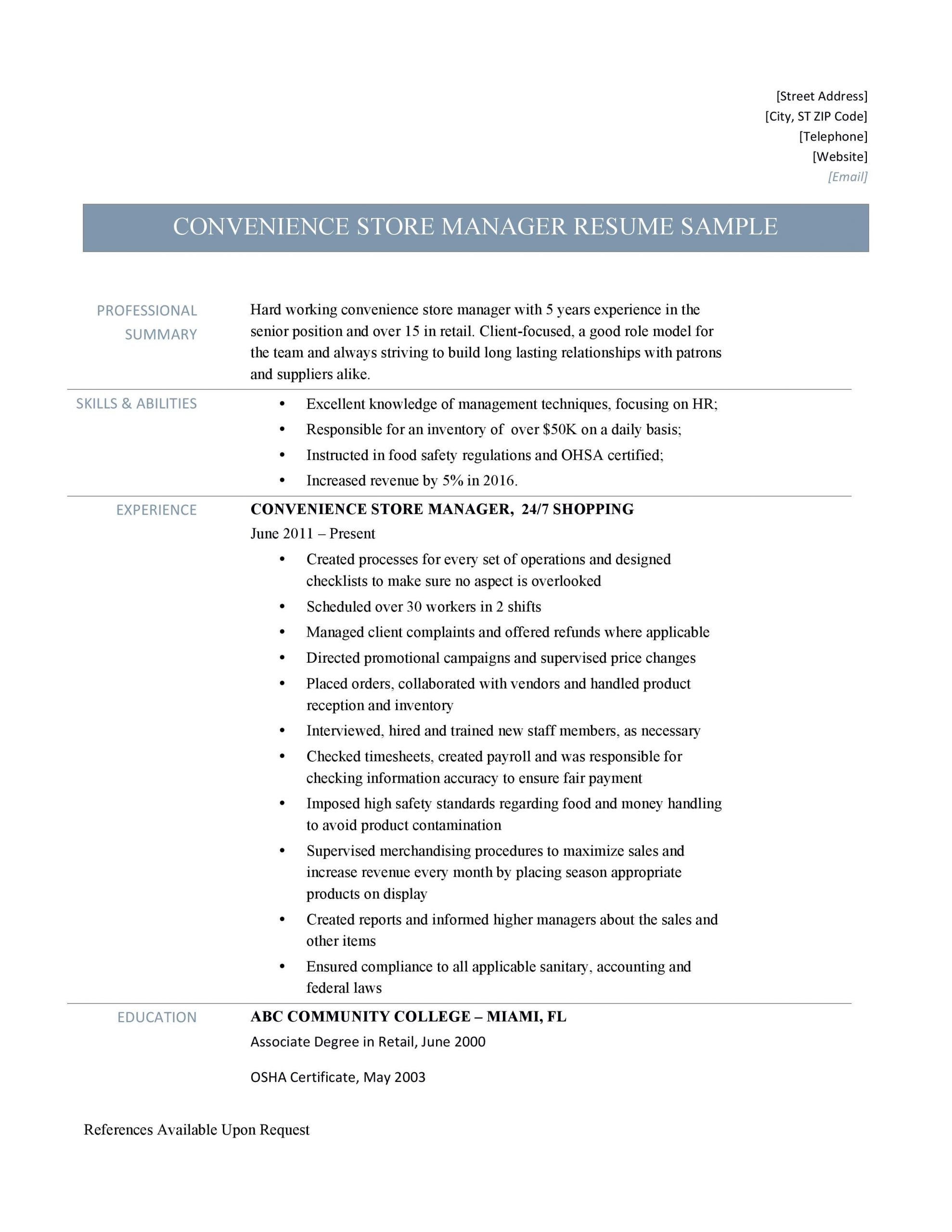 Convenience Store Manager Resume Convenience Store Manager Resume Samples