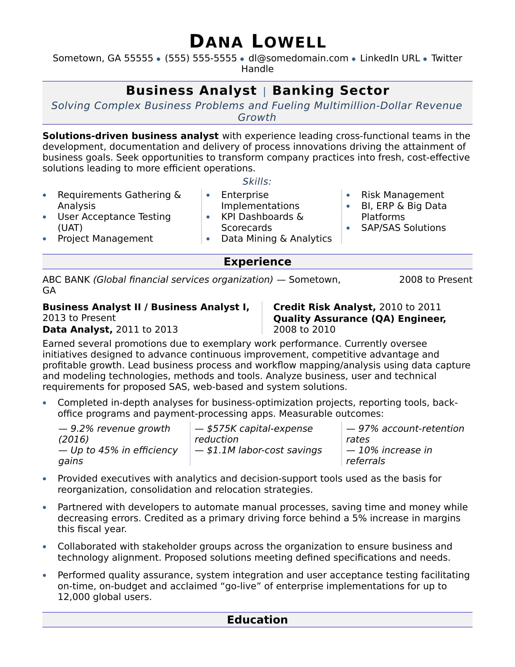 Financial Business Analyst Resume Business Analyst Resume Sample