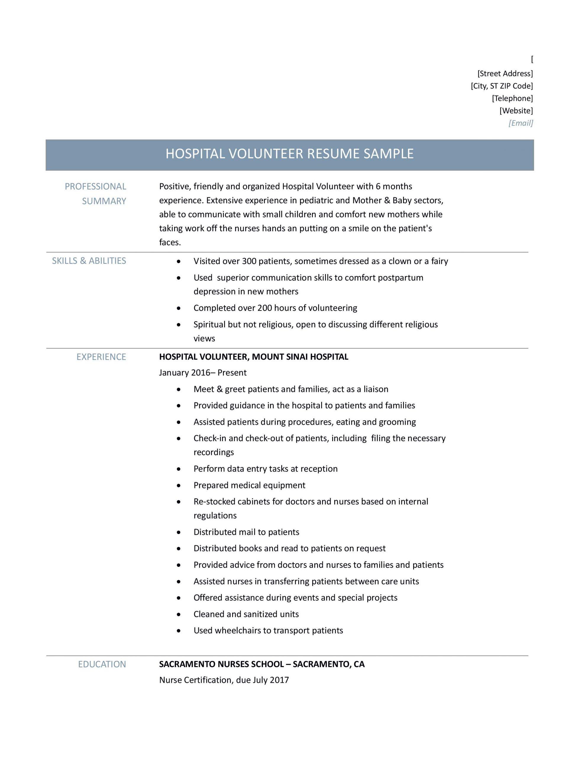 Hospital Volunteer Duties Resume Hospital Volunteer Resume Samples Tips and Templates