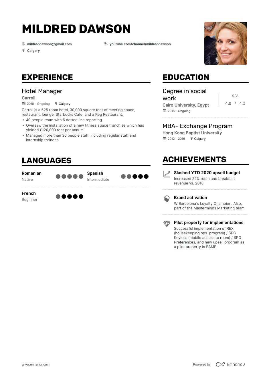Top Hotel Manager Resume Examples & Samples for 2020