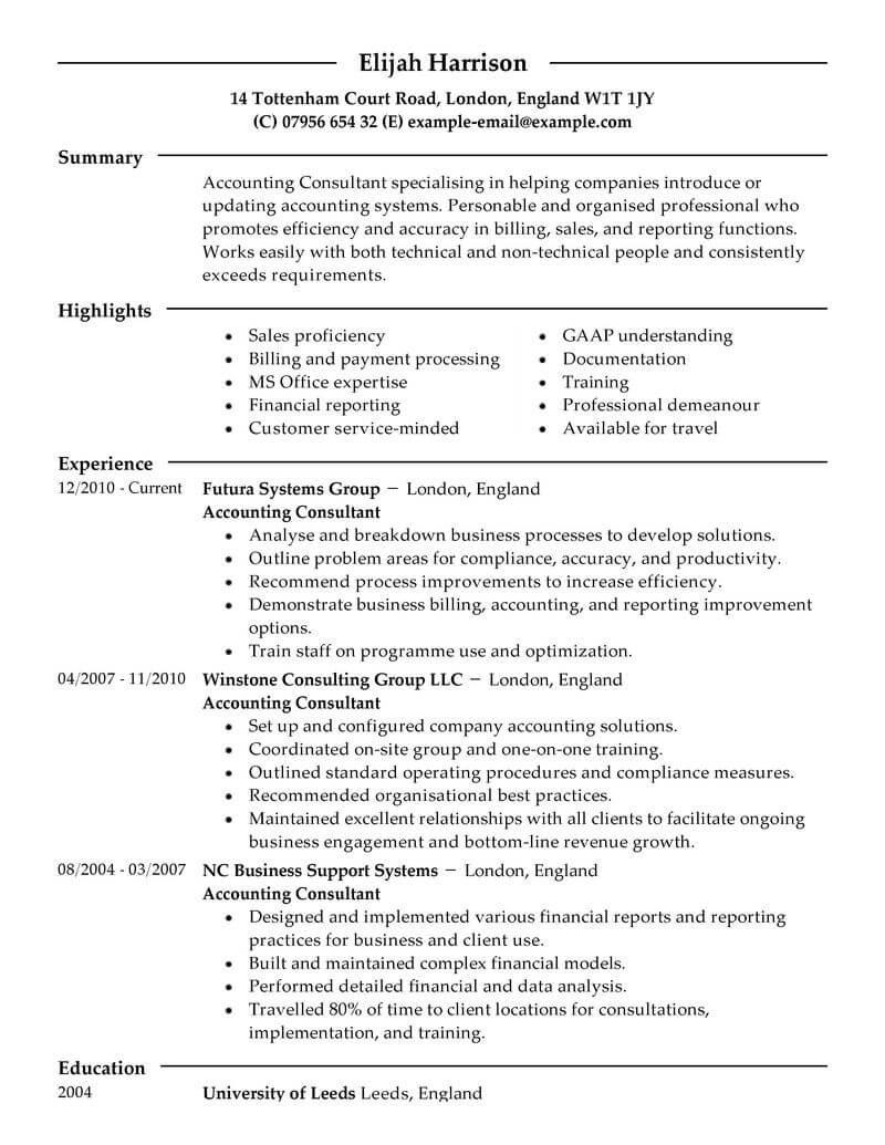 It Consultant Resume Sample Best Consultant Resume Example