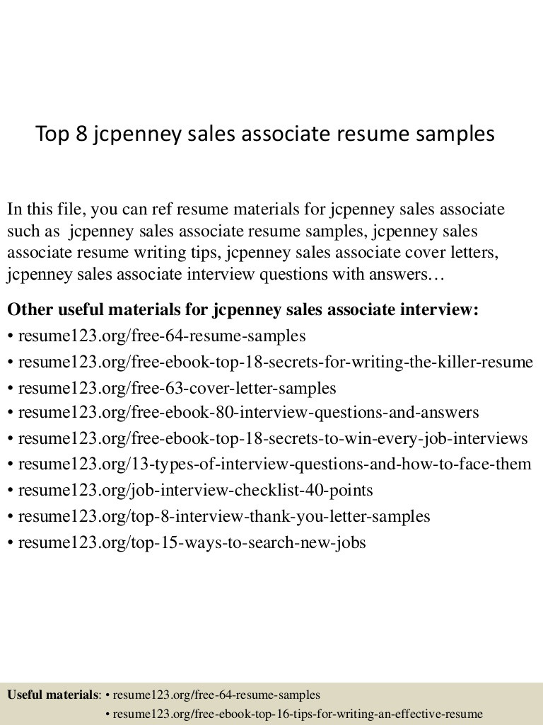 Jcpenney Sales associate Resume