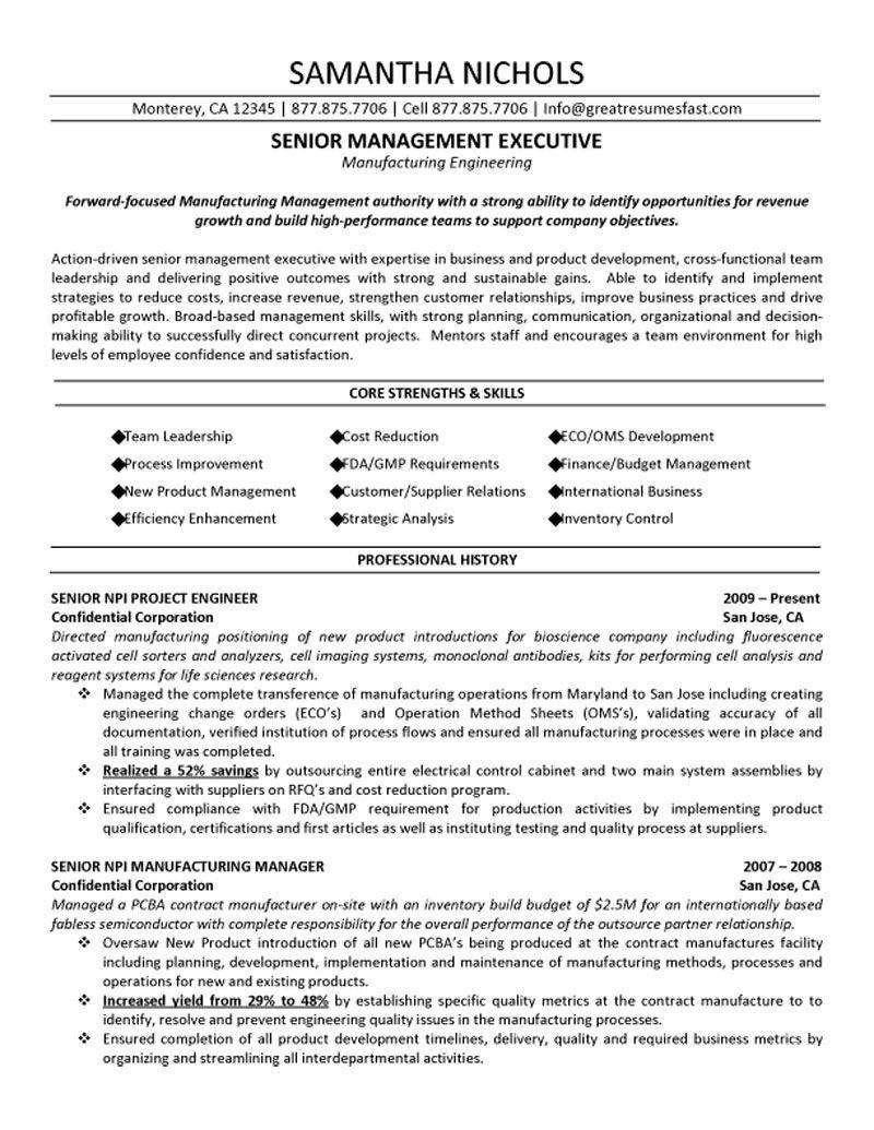 Senior Executive Resume Samples Senior Management Executive Manufacturing Engineering