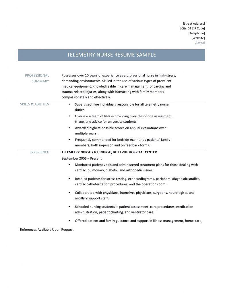Cardiac Telemetry Nurse Resume
