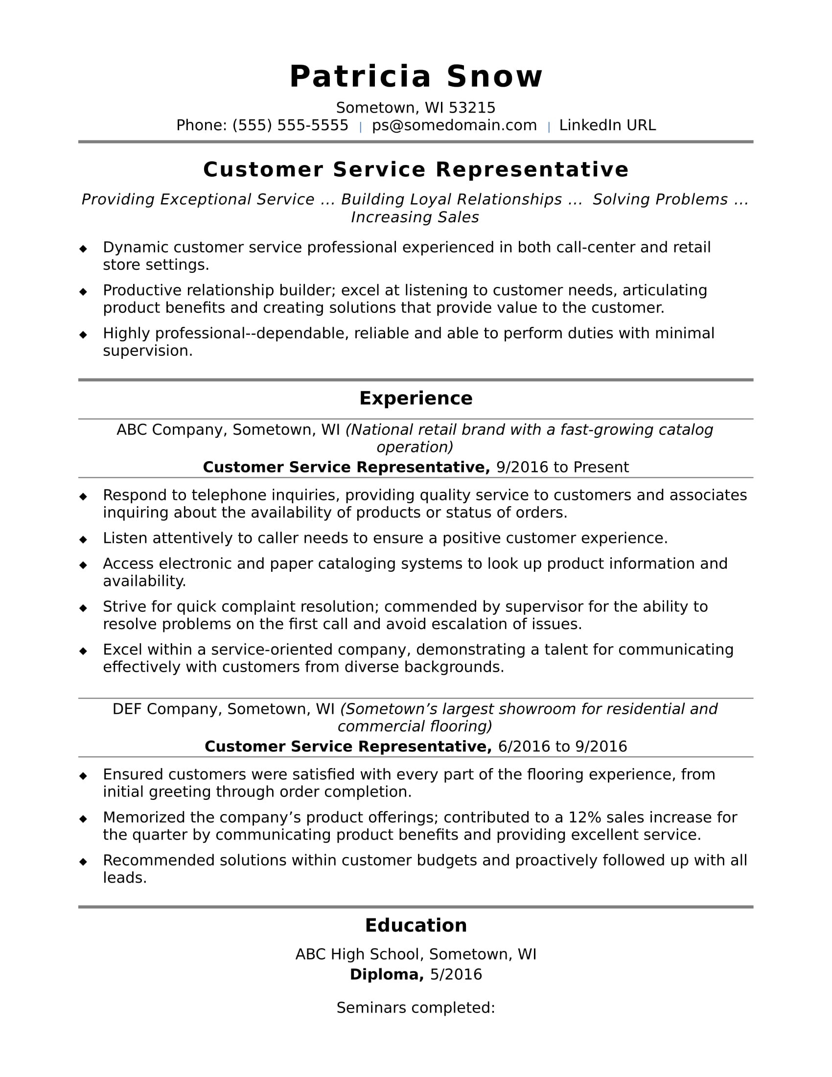 Client Service Representative Resume Customer Service Representative Resume Sample