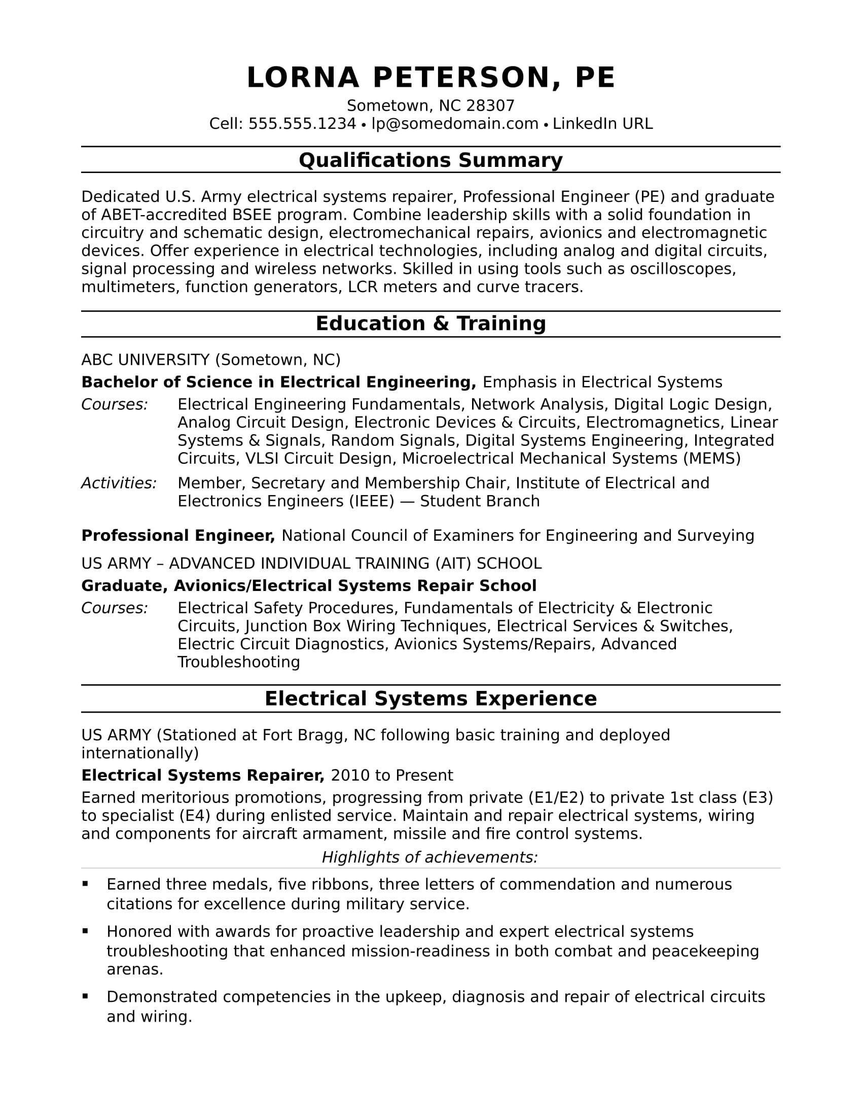 Sample Electrical Engineering Resume Sample Resume for A Midlevel Electrical Engineer