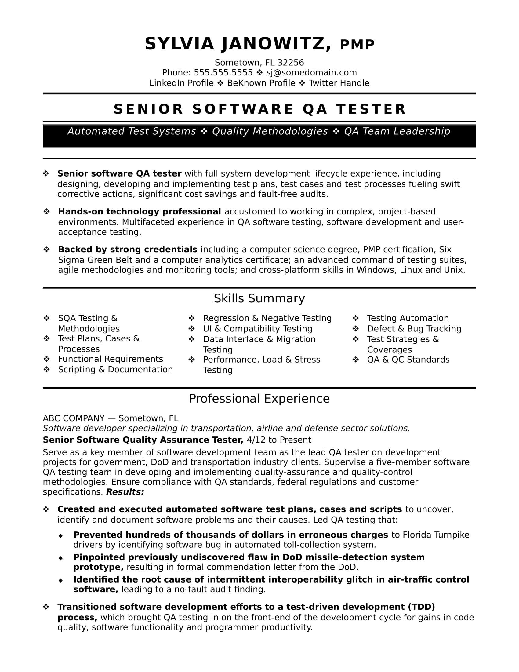 Sample Resume for Qa Analyst Experienced Qa software Tester Resume Sample