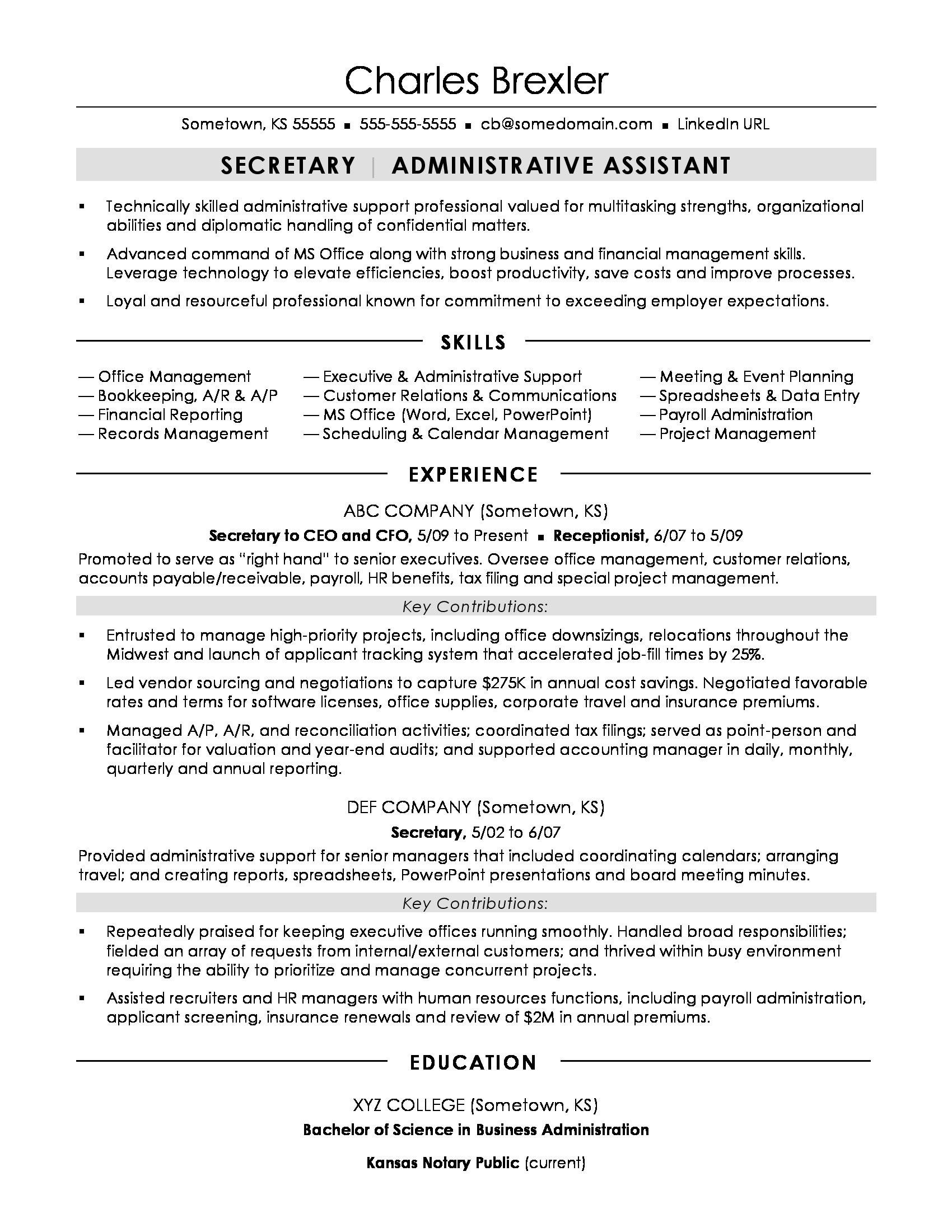 Sample Resume for Secretaries Secretary Resume Sample