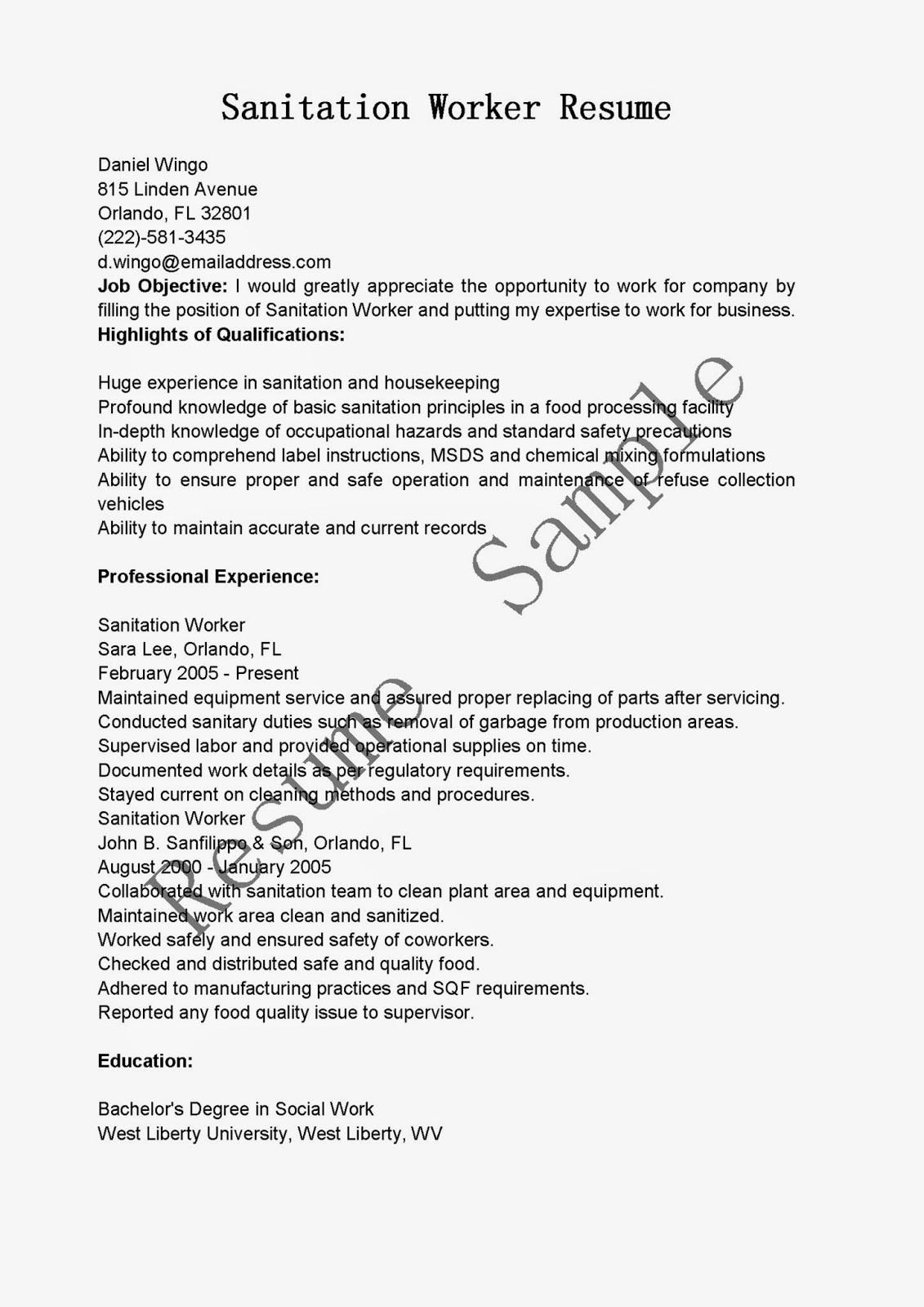 Sanitation Worker Job Description Resume Sanitation Resume