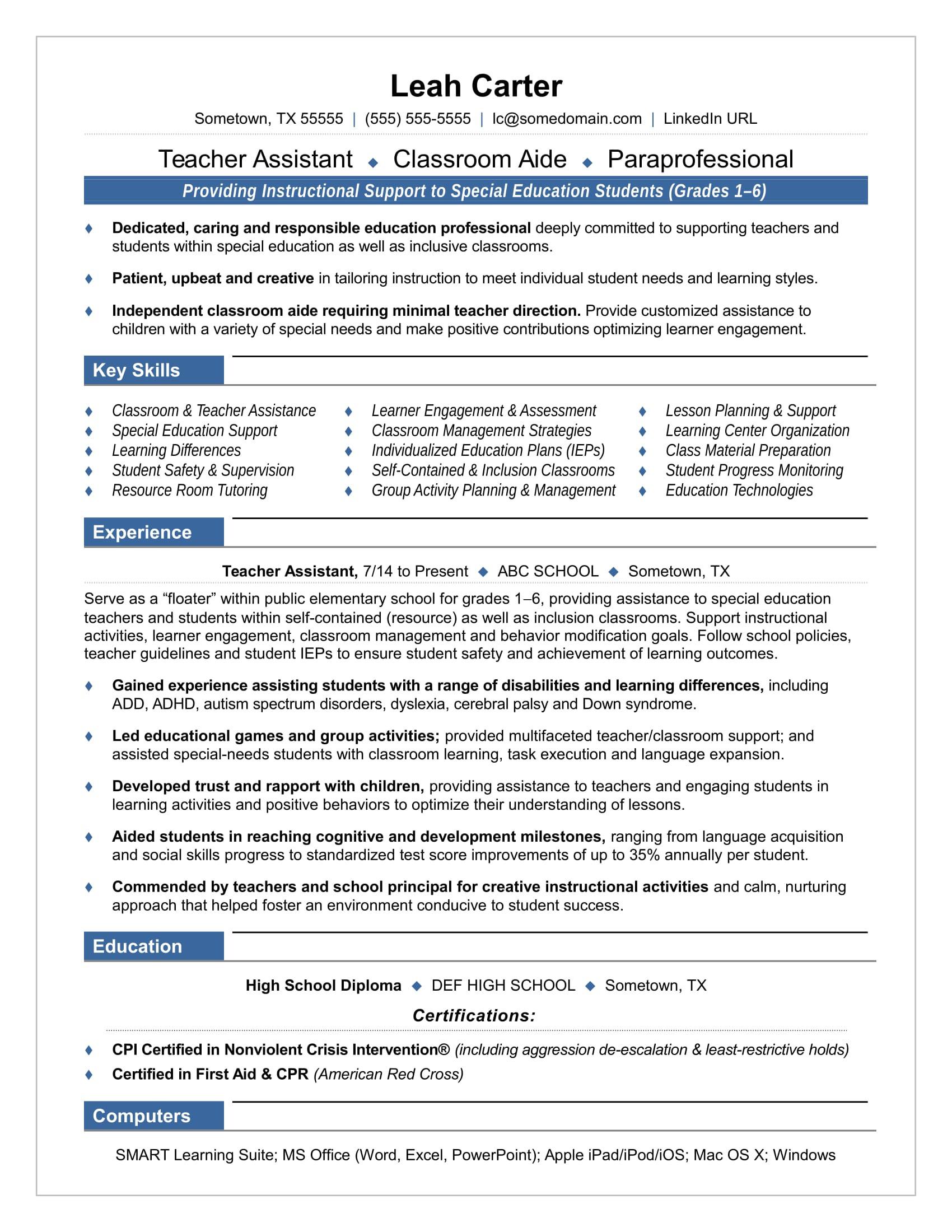 Teacher Aide Skills Resume Teacher assistant Resume Sample